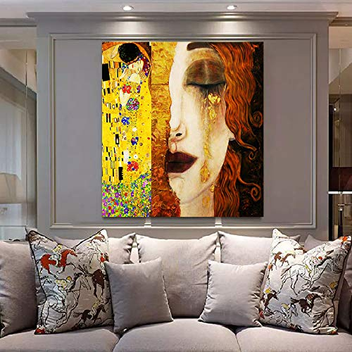 - Faicai Art Gustav Klimt Golden Tears and Kiss Paintings Gold Wall Art Banksy Graffiti Canvas Prints Pop Art Home Decor Printed Pictures Famous Artwork Wall Decor Painting Framed Ready to Hang 24