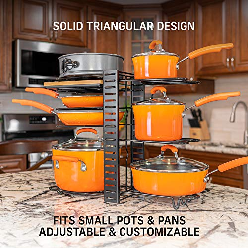 Pots and Pans Organizer – Kitchen Cabinet Organization and Storage – Pot Rack Organizers – 3 DIY Methods – Adjustable Pot Lid Holder for Kitchen Counter Pantry – Pot and Pan Organizer