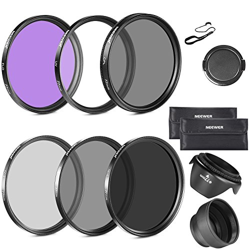 Neewer 77MM Lens Filter Kit: UV, CPL, FLD, ND2, ND4, ND8 and
