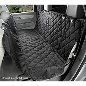 4Knines Dog Seat Cover with Hammock for Cars, Small Trucks, and SUVs – Black Regular – USA Based Company