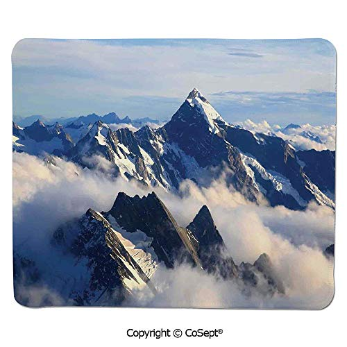 Non-Slip Rubber Base Mousepad,Landscape of High Majestic Mountains with Cook Peak with Mist Cloud Earth Photo,for Laptop,Computer & PC (15.74