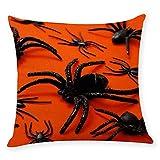 Halloween Pillow Covers 18x18 Spider Cotton Linen Burlap Throw Pillows Decorative Square Cushion Cover (D)
