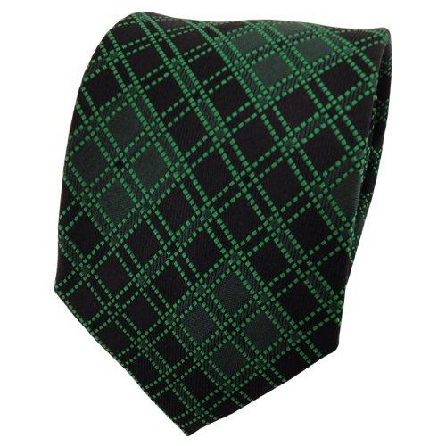 TigerTie cravate en soie vert foncé noir à carreaux - cravate en soie