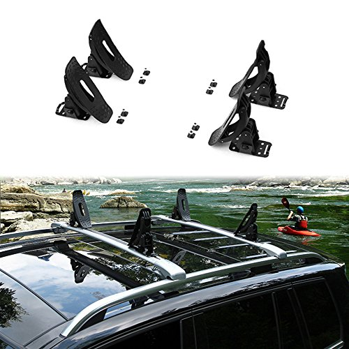 - 4Pcs Fit for Hyundai New Kona 2018 2019 Universal Kayak Carrier Roof Rack Cross Bars Saddles Cradle Canoe Sail Boat Black