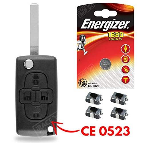 Caja para mando a distancia/ /Carcasa de llave Peugeot 1007/807/✚ Switch ✚ pila CR1620/Energizer
