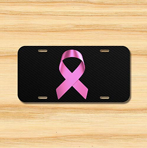 Yilooom Pink Ribbon License Plate Vehicle Auto Tag Breast Cancer Survivor Novelty Accessories License Plate Art