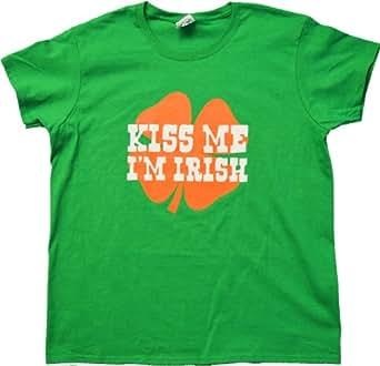 KISS ME, I'M IRISH Ladies' T-shirt / St. Patrick's Day Irish Pride Tee Shirt-Green-Small