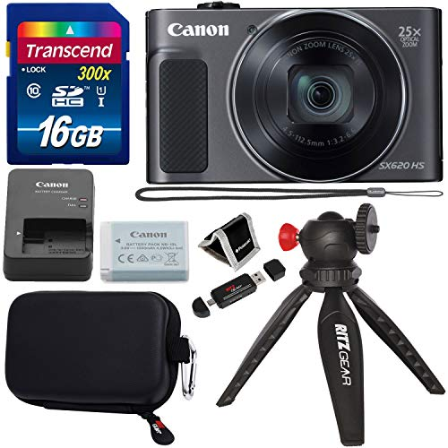 Canon PowerShot SX620 Digital Camera w/25x Optical Zoom – Wi-Fi & NFC Enabled (Black), Transcend 16GB SDHC Memory Card, Ritz Gear Point & Shoot Camera Case and Accessory Bundle
