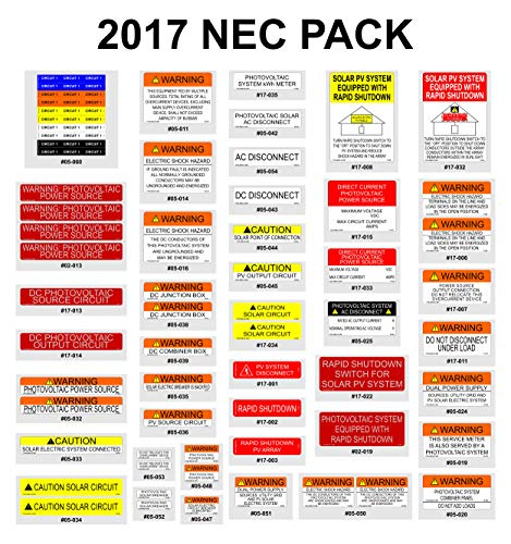 FCD Labels 17-024 Solar NEC 2017 Vinyl Label Pack (Pack of 55)