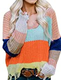 ADEWEL Women's V Neck Off The Shoulder Colorblock Loose Ripped Knitt Pullover Knitted Tassel Sweater Crop Top
