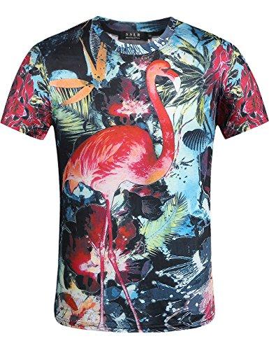 SSLR Mens Flamingos Hawaiian Tees Regular Fit Short Sleeve Casual T-Shirts