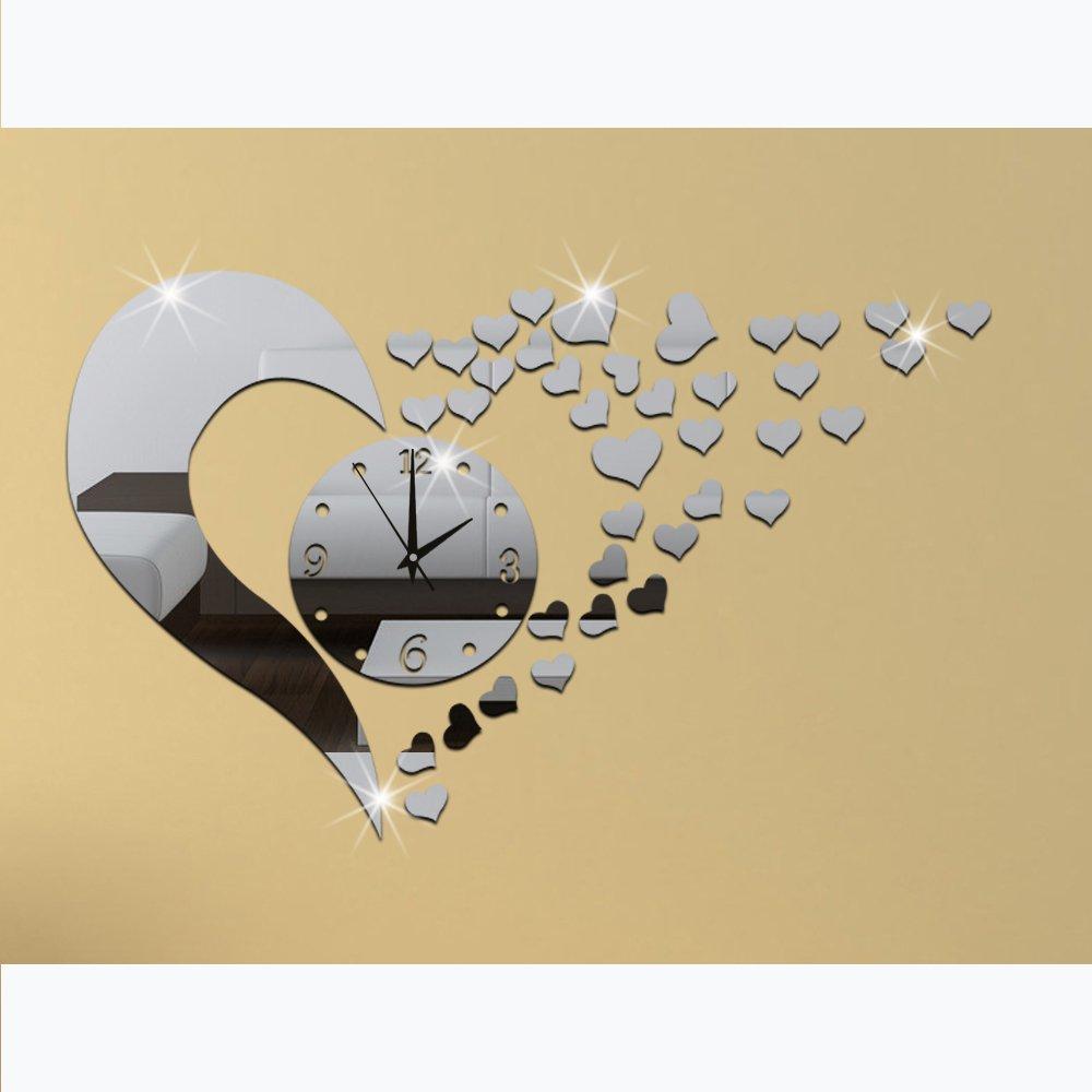 Amazon.com: 3D Acrylic Mirror Wall Sticker Clock Decoration Decor ...