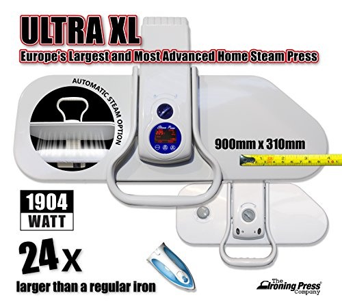 Ultra XL Steam Iron Press by Speedypress - Europe's Largest & Most Advanced Home Steam Press (90cm x 31cm; 1,904watt) For Super Fast Ironing (+ FREE Spare Cover & Foam Underfelt RRP £35.00 + Other Accessories)