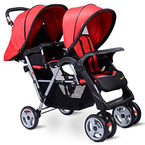 Lightweight Double Stroller with Tandem Seating, Easy Folding Stroller for Toddlers or Twins with Multiple Seating Options, Includes Large Storage Basket, Two Child Trays (red)