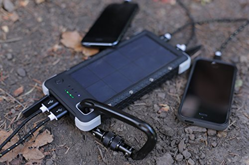SOS20K - 20,000 mAh Rugged Solar Charger with Flashlight, IP67 Waterproof Solar Camping Battery & 4 Port USB Fast Charging Powerbank, by RoamProof by RoamProof (Image #2)