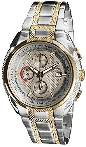 Daniel Steiger Avenger Two-Tone Luxury Men's Chronograph Watch - 50M Water Resistant - Split Second Chronograph Movement - Tachymeter - Textured Dial & Bracelet