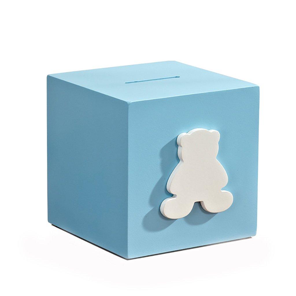 XXDP Alcancía de Dibujos Madera Creativa de Dibujos de Animados BB Oso niño Escritorio Duro decoración Azul 59e649