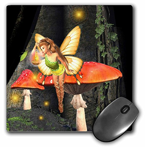 3dRose LLC 8 X 8 X 0.25 Inches Pretty Forest Fairy on Mushroom/Toadstool with Light Mouse Pad (mp_23211_1)