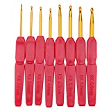 RX 8pcs Soft Handle Crochet Hooks Knitting Needles Set With Ergonomic Grips 2.5-6.0mm