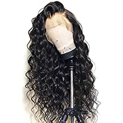 360 Lace Frontal Wig Pre Plucked Loose Wave Human Hair Wigs with Baby Hair Glueless Virgin Remy Human Hair for Black Woman 150% Density Nature Color 20 inch