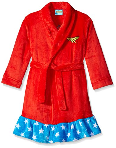 Dc Comic Girls (DC Comics Girls' Big Wonder Woman Velvet Fleece Robe, Red,)