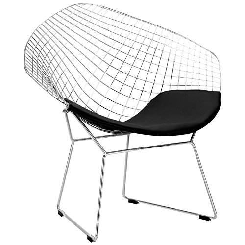 Bertoia Wire Diamond Chair - Poly and Bark Morph Lounge Chair in Black
