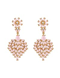 Gold Plated Daisy Dangle Earrings Simulated Rose Quartz/Aquamarine CZ Earrings