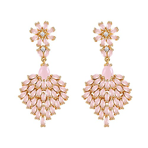 Rose Quartz Crytal Daisy Dangle Earrings For Women/Teen Girls Gold Plated Heart Earrings Cubic Zirconia Cherry Blossom Dangle Earrings Gift