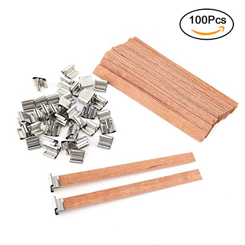 TSLIKANDO 100Pcs Wood Candle Wicks with 100pcs Iron Stands for DIY Candle Making,13mm x 130mm
