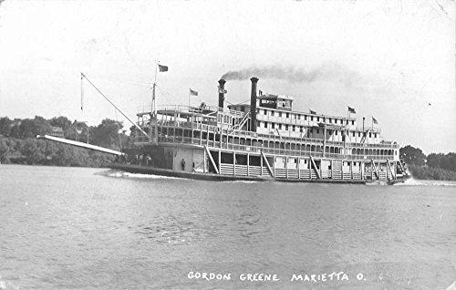 Marietta Ohio Gordon Greene Steam Ship Real Photo Antique Postcard - Ohio Greene The