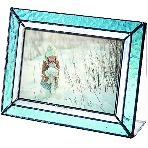 - J Devlin Pic 401-46H Light Blue Glass Picture Frame Tabletop 4x6 Horizontal Photo Frame Home Decor
