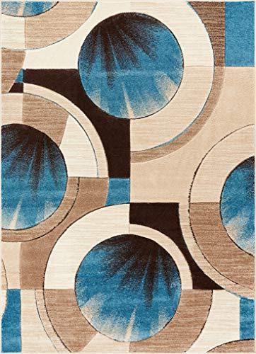 Well Woven Sunburst Blue, Beige, Brown Modern 8x10 8x11 (7'10
