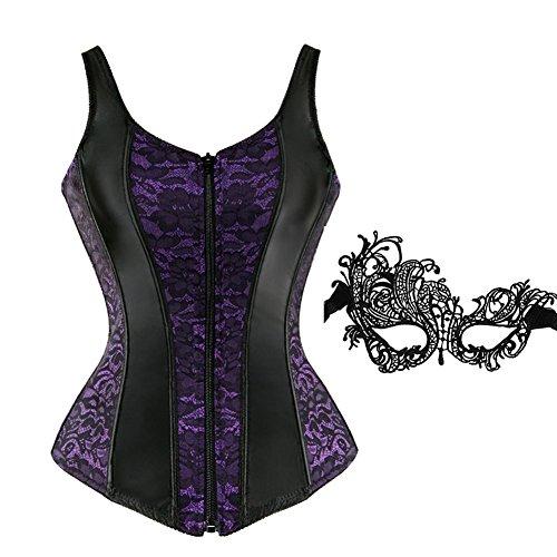 frawirshau Corsets for Women Overbust Corset Vest Bustier Lingeie Top Shapewear Purple -