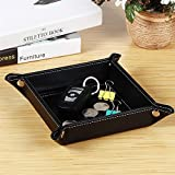 KathShop Jewelry Catchall Key Phone Coin Box PU Leather Valet Tray Bedside Storage Plate Black Color