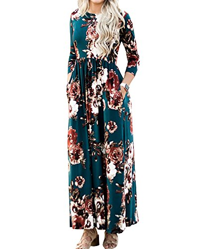 (Foshow Womens Floral Maxi Dress 3/4 Sleeve Empire Waist Floor Length Boho Pleated Casual Dresses Dark Green)