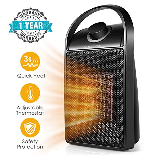 Space Heater, 1500 watt Personal ceramic portable mini heater desktop office home dorm, with adjustable thermostat