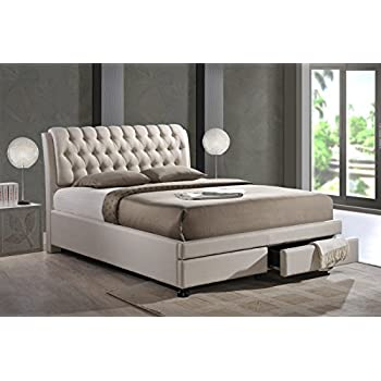 upholstered ottoman storage bed frame queen headboard canada studio contemporary button tufted fabric drawers king light beige