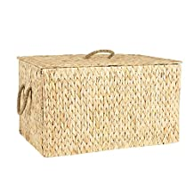 Household Essentials Spring Collection Wicker Storage Trunk, Large, Light Brown