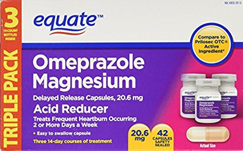 Equate - Omeprazole Magnesium 20.6 mg, Acid Reducer, Delayed Release, 42 Capsules (Pack of 5) by Geri-Care Omeprazole Magnesium 20 mg, Acid Reducer, Delayed Release, 42 Capsules