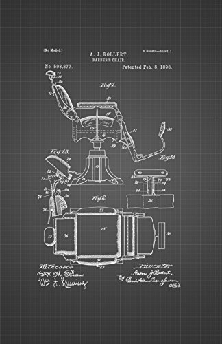 Framable Patent Art Original Ready to Frame Décor The Barber Chair Hair Salon Men 24in by 36in Poster Print Black Blueprint PAPMSP56BB from Framable Patent Art