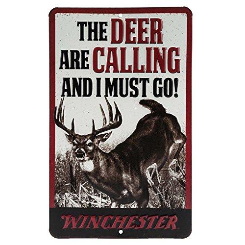 (Open Road Brands Winchester Deer Calling Embossed Metal Sign)