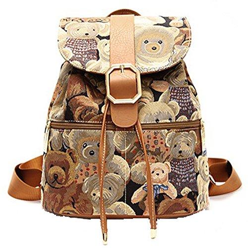 Win8Fong Vintage Printing Pink Lady Backpack (Teddy Bear Coffee)
