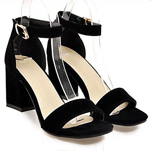 Easemax Womens Fashion Faux Suede Open Toe Buckled Ankle Strap High Block Heel Sandals Black 7bZ5bMXSlu