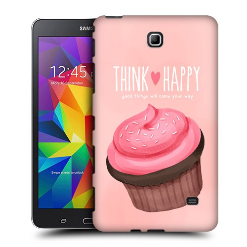 Head Case Designs Pink Cupcake Happiness Protective Snap-on Hard Back Case Cover for Samsung Galaxy Tab 4 7.0 T230 T231 T235