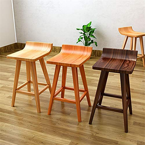 Amazon.com: Barstools Chair with Footrest Eco-Friendly Pine Wood Stool Ergonomic Curved Seat Wood Dining Chairs - 45/65/75cm Pub Height: Kitchen & Dining