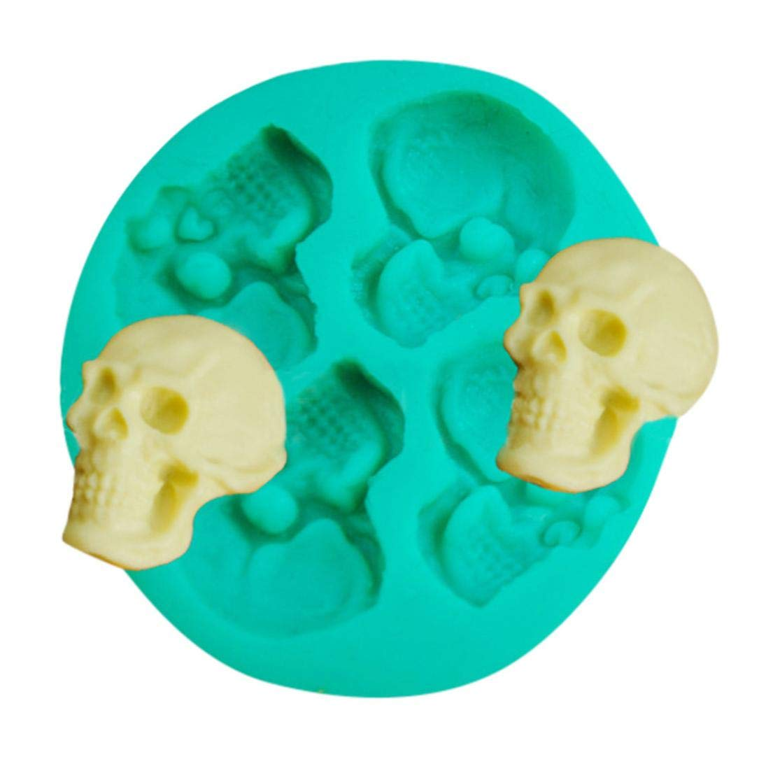 Hot Sale!DEESEE(TM)🌸🌸Skull Head Silicone Fondant Cake Mould Chocolate Mold Halloween Party Exquisite
