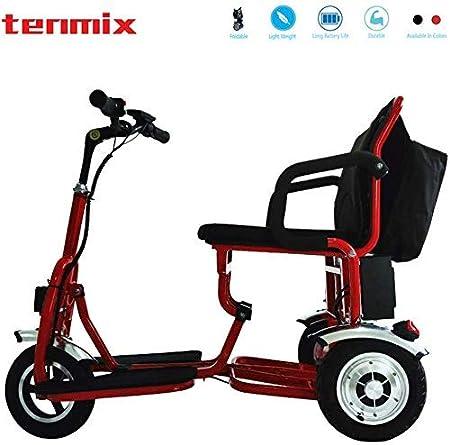 Yuiop Triciclo Plegable Ligero Silla de Ruedas eléctrica para discapacitados Ancianos Mini Motor sin escobillas Sillas de Ruedas eléctricas con Marco de Aluminio y Litio LED,Rojo,12A50KM