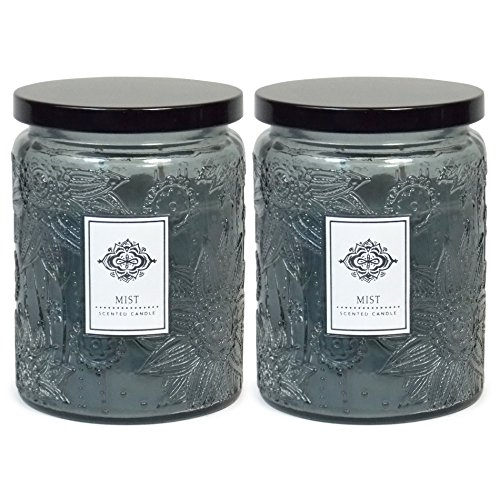 2 Aromatherapy Scented Candles - Mist - Two 16 Ounce Glass Mason Jar Candles with a 100 Hour Burn Time - A Great Gift and Beautiful Decor Piece!