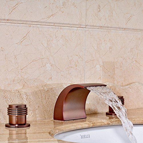 CZOOR Waschbecken Mischer-Hahn-Öl eingerieben Bronze-Bassin-Badezimmer-Hahn-Deck Montage Waschbecken Wasserhahn mit warmen und kalten Mischbatterien