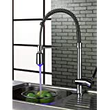 FANCCEY brand Contemporary Chrome Brass Personalized Single Handle LED Kitchen Sink Faucet - Silver
